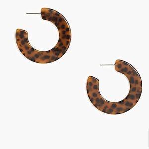 J Crew Cheetah Tort Flat Tortoise Hoop Earrings